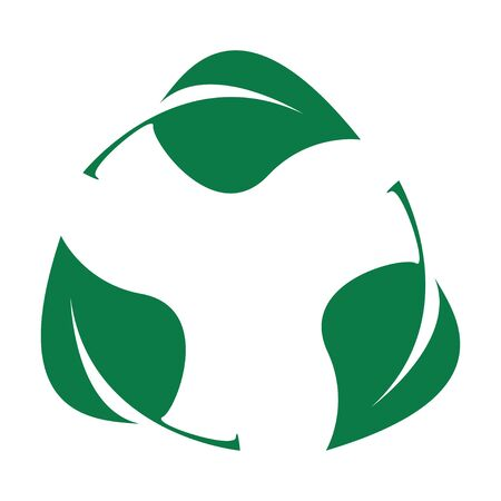 Green leaves. Bio recyclable plastic icon.