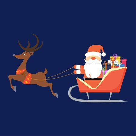 Santa Claus flying in sleigh with gifts and deer in the sky. Winter holiday
