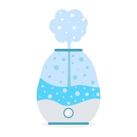 Aria dell'umidificatore con l'icona del vapore. Microclima purificatore, umidità sana
