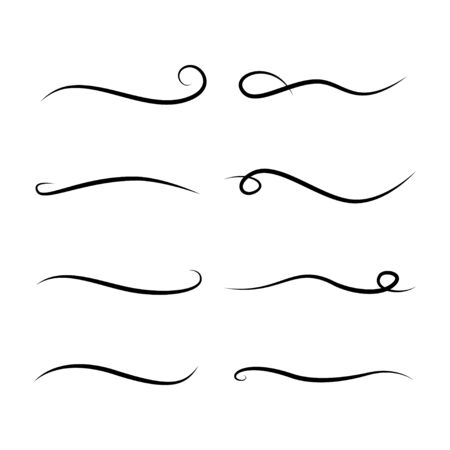 Curly swishes, swashes, swoops. Calligraphy swirl Text elements vector