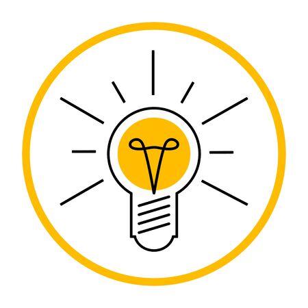 Light bulb like idea icon. Shining lamp design vector