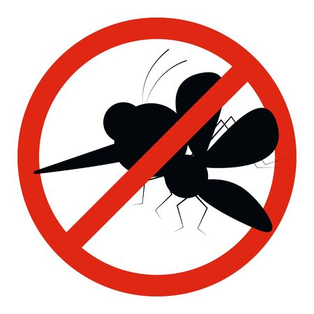 Mosquito warning prohibited cartoon sign. Anti insect