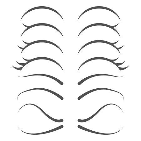 Cute cartoon human eyelashes line icons set. Female collection for character Illustration