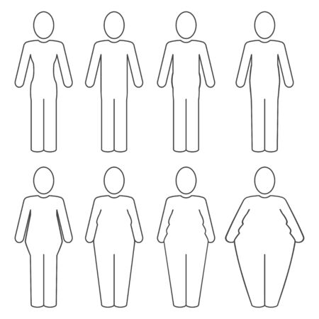 From thin to fat human body pictogram. Different proportions of the body set. Obesity