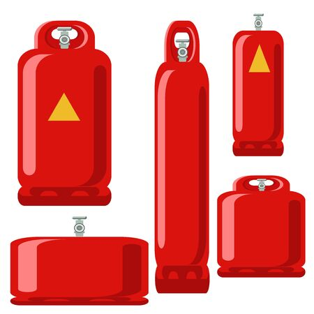 Red Gas tank set icon in flat propane cylinder