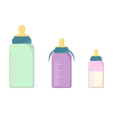 Vector set baby bottles with nipples for feeding newborns, isolated on background