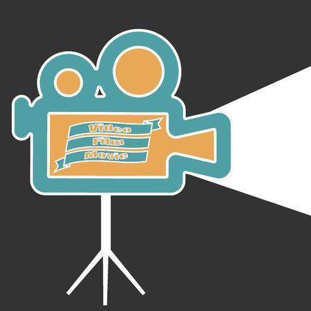 Video camera icon. Movie, film label Retro Banque d'images - 143512749