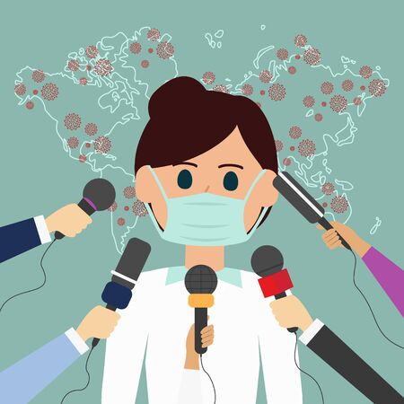 Coronavirus in World. Quarantine vector doctor with medical mask Press conference, live news Illustration