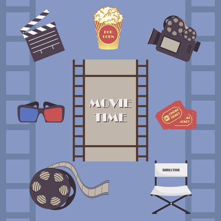 Movie time set. Camera and film icons vector illustration design isolated