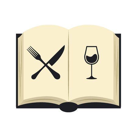 Open book for restaurant menu line on white