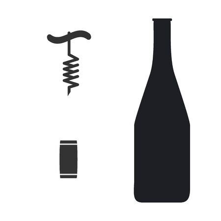 Cork and Corkscrew icon with bottle vector on white Illustration