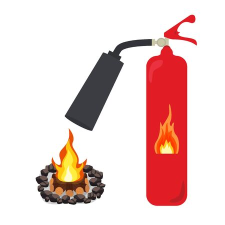 Fire extinguisher put out a fire bonfire vector on white Illustration