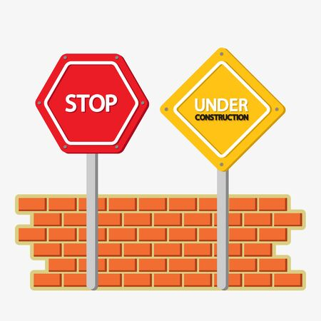 Under construction and stop signs with bricks wall icon