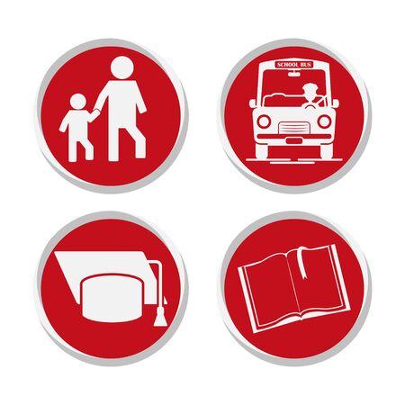 School stickers set vector illustration design isolated