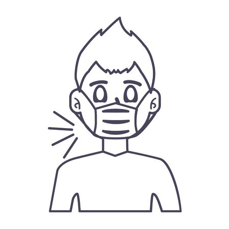 Man with mask icon vector illustration design