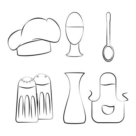 Kitchen utensils set icon design vector illustration