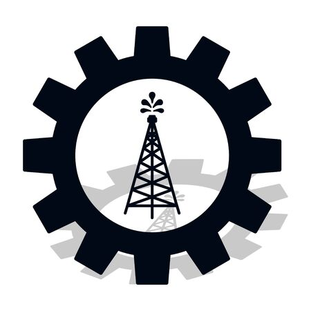 Industry icon. Silhouette of oil fountain in gear