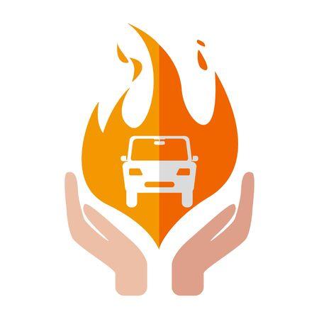 Insurance car icon fire design hand vector illustration Illustration