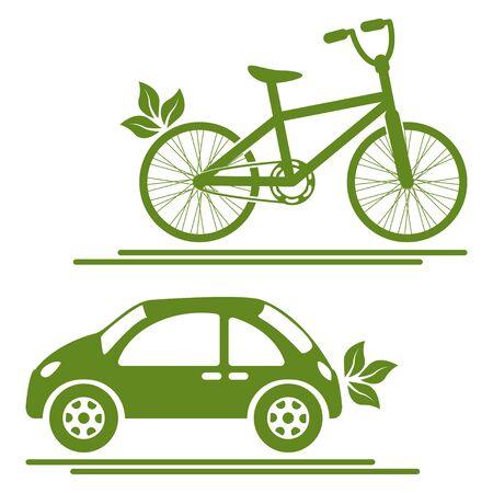 Car and bike green icons vector illustration Illustration