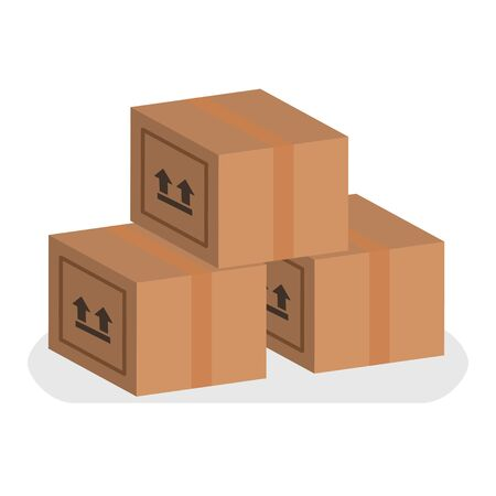 Boxes set. Delivery vector illustration design isolated carton Çizim