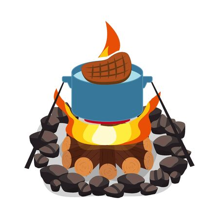 Camping bonfire, burning woodpile and round of stones, campfire or fireplace on firewood vector steak bbq and grill fire