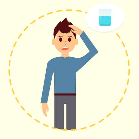Tired man want glass of fresh water. Dehydration. Thirsty guy Illustration