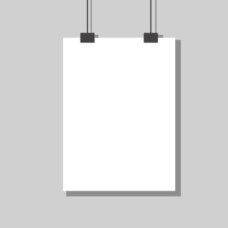 White empty paper hanging on wall design