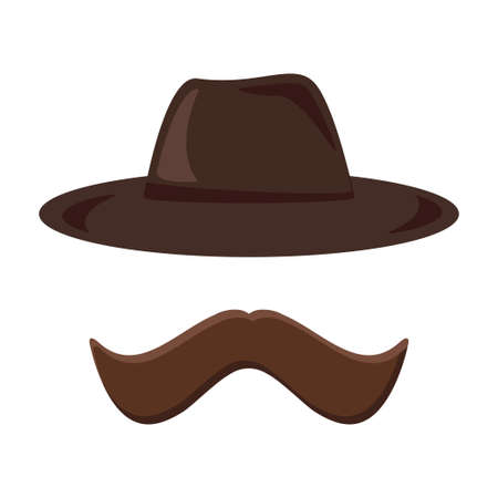 Hat and mustache retro icon. Hipster style