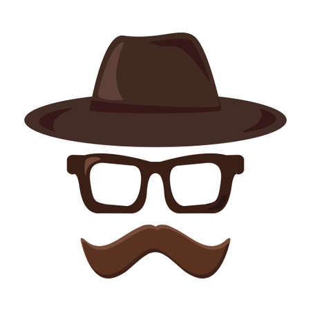 Hat, glasses and mustache retro icon. Hipster style