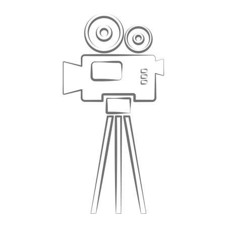 Video camera icon. amcorder. Movie film label vector