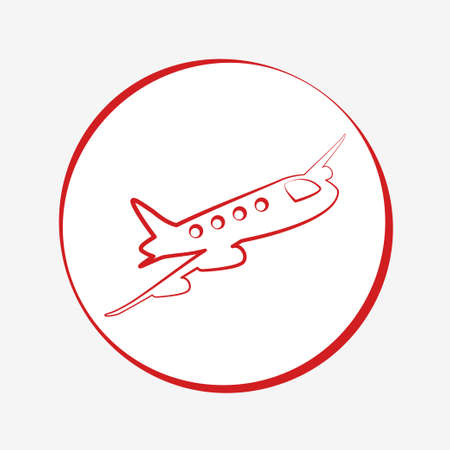 Red airplane icon illustration vector design isolated transport