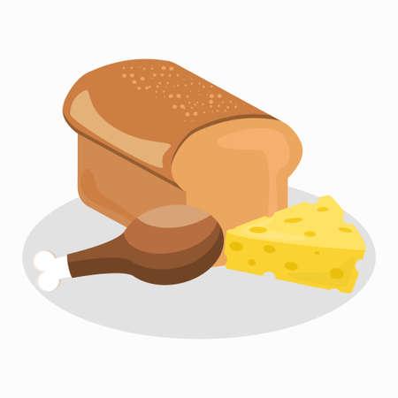 Home kitchen icon set chicken leg bread cheese