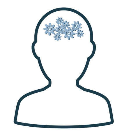 Human with gears inside his head icon vector