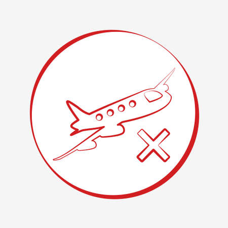 Red airplane icon. Cancelled flight vector illustration design Vettoriali