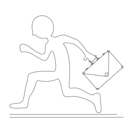 Running business man with briefcase icon  illustration design Banque d'images