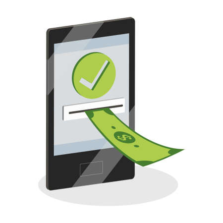 Online payments concept. Smartphone with money icon