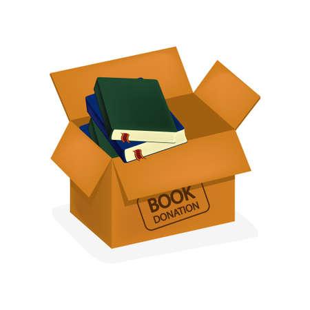 Book donation in box icon vector illustration design