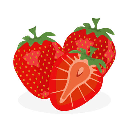 Strawberry set icon. Fruit and organic food concept