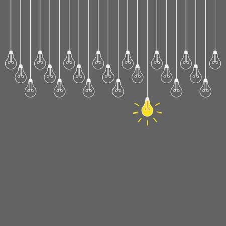 Idea symbol. Yellow bulbs set icon design vector Çizim