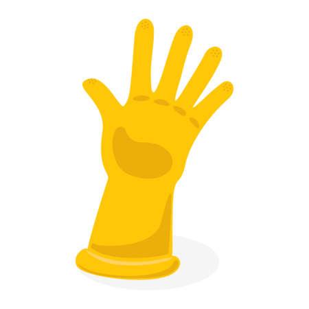 Industrial uniform yellow wear glove icon vector Illustration