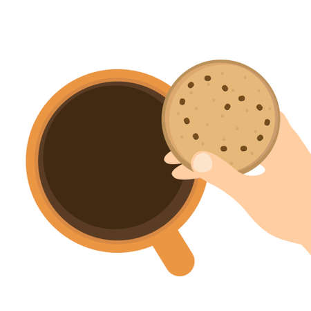 Cup with coffee and cookies icon design