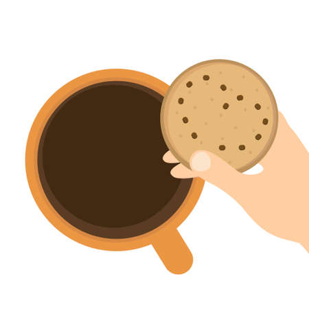 Cup with coffee and cookies icon with hand vector