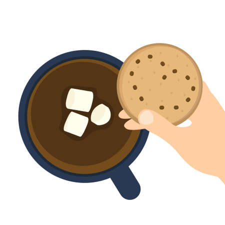Cup of coffee or hot chocolate with marshmallows and cookies in
