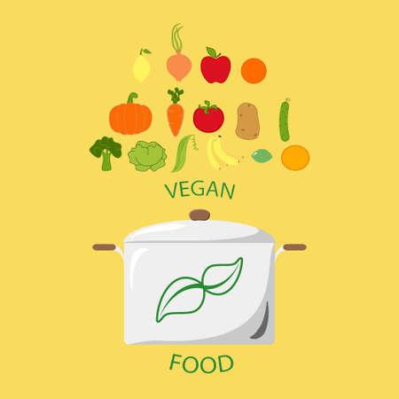 Vegan, vegetarian menu icon vegetable and fruits vector design
