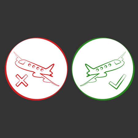 Red airplane icon. Flight allowed and Cancelled vector design