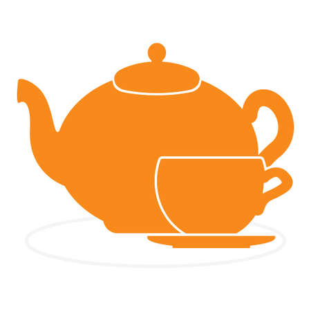 Teapot and cup icon vector illustration Çizim