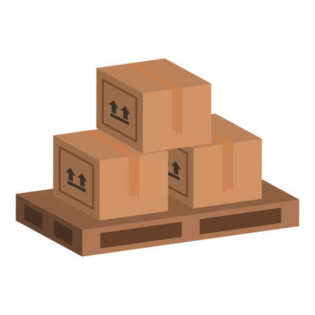 Boxes parcel cargo on pallets icon illustration design