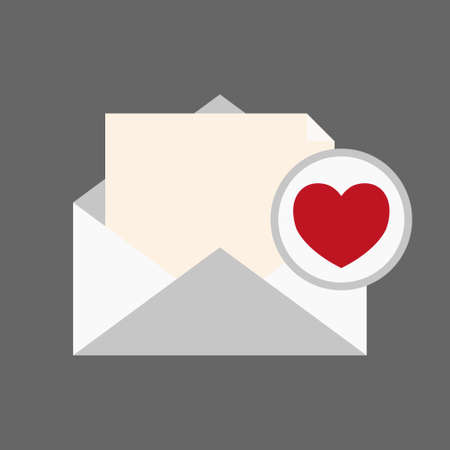 Message envelope and heart notification icon vector Çizim