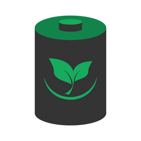 Eco friendly battery with leaves  vector illustration design