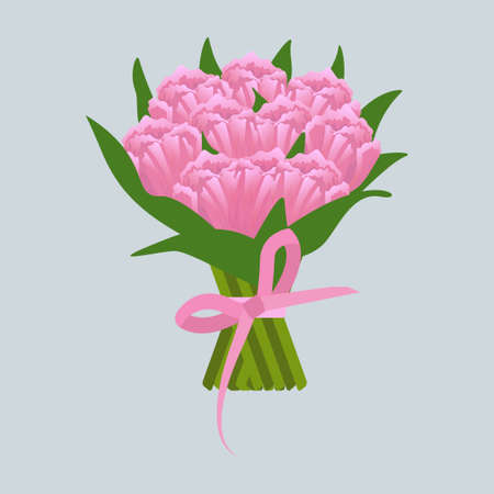 Bouquet of pink tulips icon vector illustration design isolated